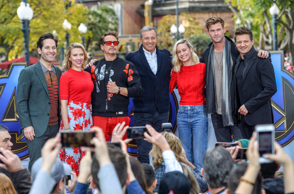 Part of the cast of 'Avengers: Endgame' and Disney CEO Bob Iger, at Disneyland.