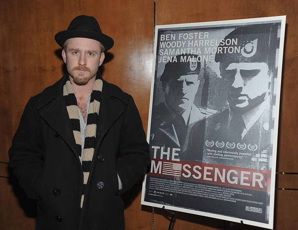 Ben Foster next to poster for The Messenger