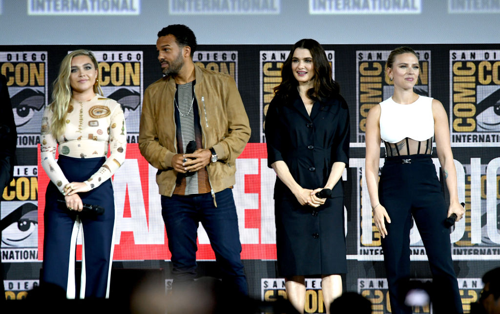 The cast of 'Black Widow' on stage at San Diego Comic-Con.