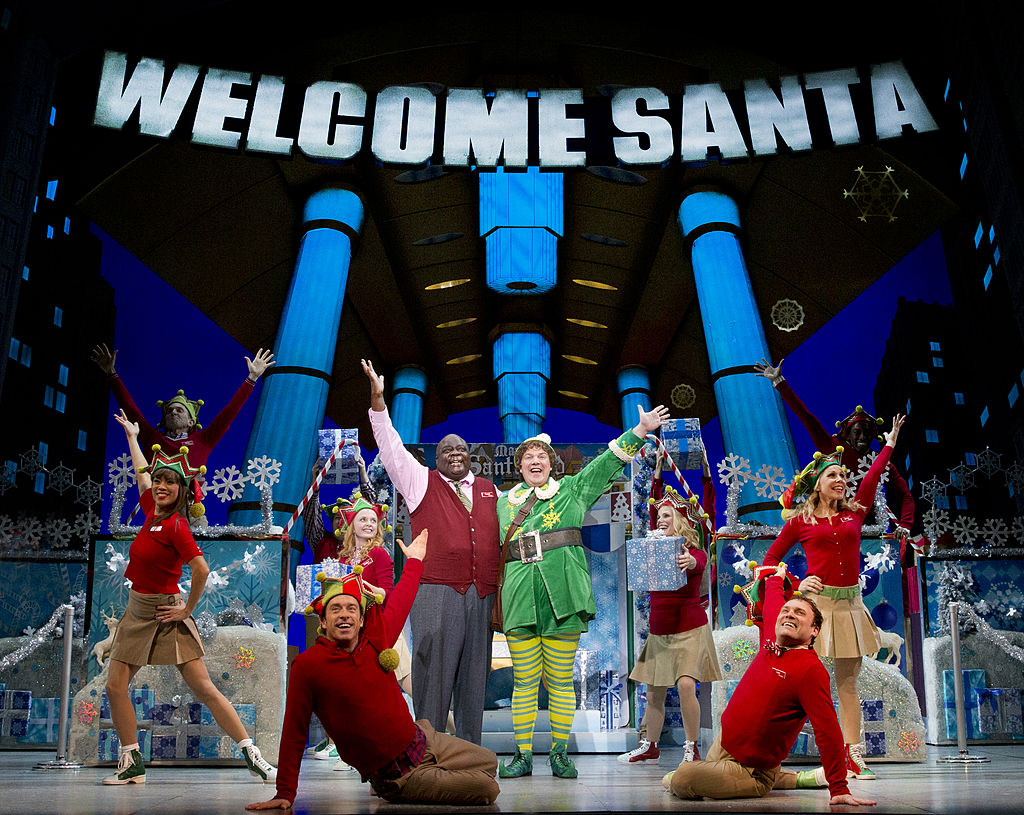 Buddy the Elf performs in the department store scene in  'Elf the Musical' on Broadway, November 9, 2012.