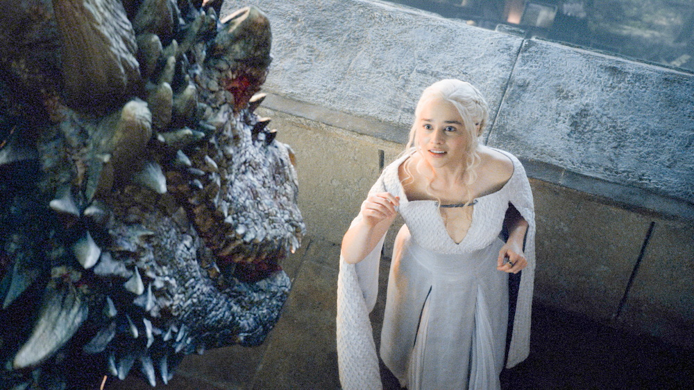 Daenerys (Clarke) interacting with Drogon in Season 5 of 'Game of Thrones.'