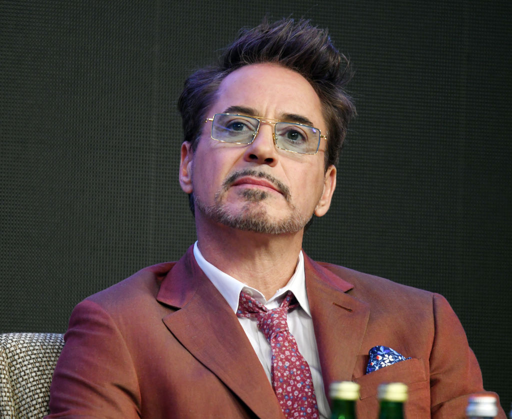 Robert Downey Jr. sits at a press conference for 'Endgame.'