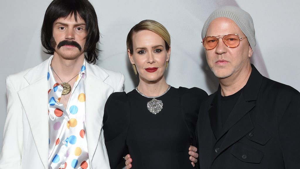 """Evan Peters, Sarah Paulson and and Ryan Murphy arrive for the Red Carpet event celebrating 100 episodes of FX's """"American Horror Story"""" at the Hollywood Forever Cemetary in Los Angeles"""