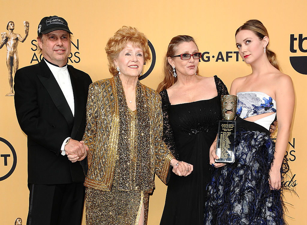 Billie Lourd and her family — grandmother Debbie Reynolds, mother Carrie Fisher, and uncle Todd Fisher — in 2015.