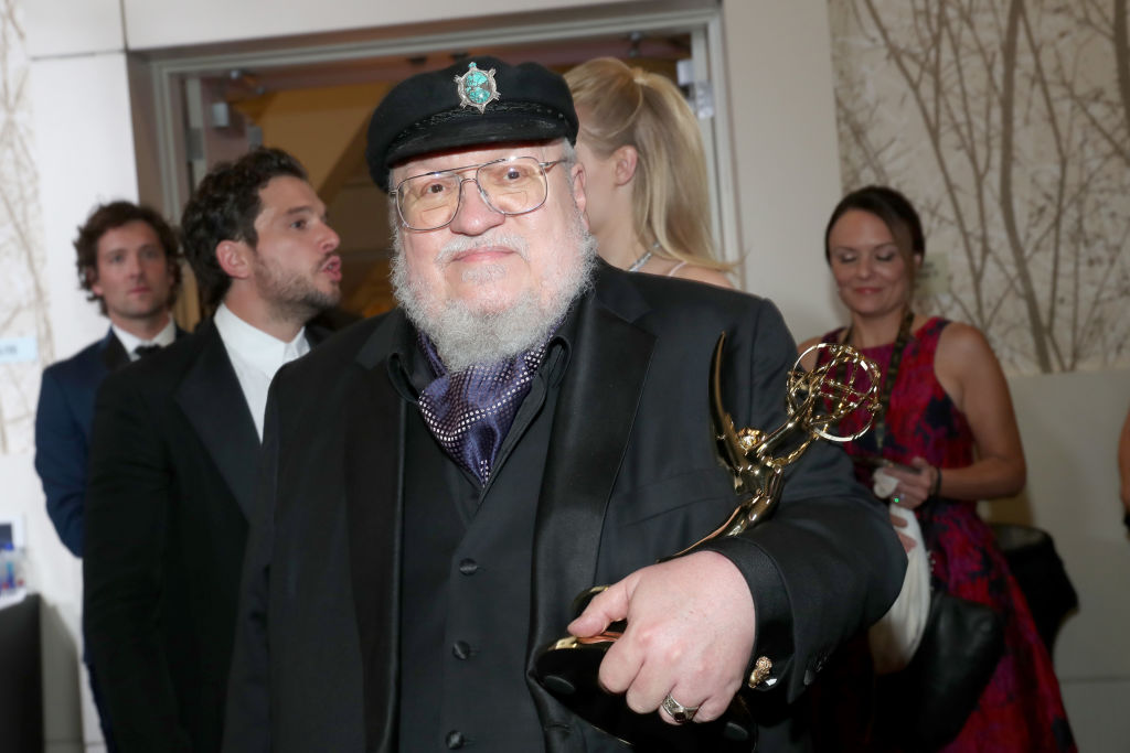 George R.R. Martin at the 2019 Emmys with his award.