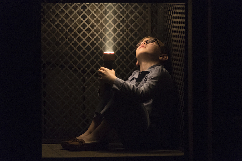 Young Luke (Julian Hilliard) in a dumbwaiter to the haunted basement in 'The Haunting of Hill House' Season 1.