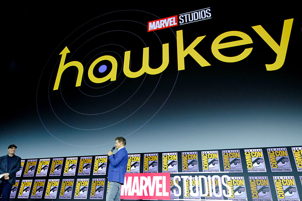 Jeremy Renner speaking during the 'Hawkeye' panel at San Diego Comic Con.