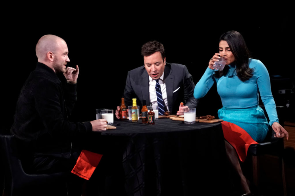 Sean Evans with Jimmy Fallon and Priyanka Chopra Jonas on 'Hot Ones'