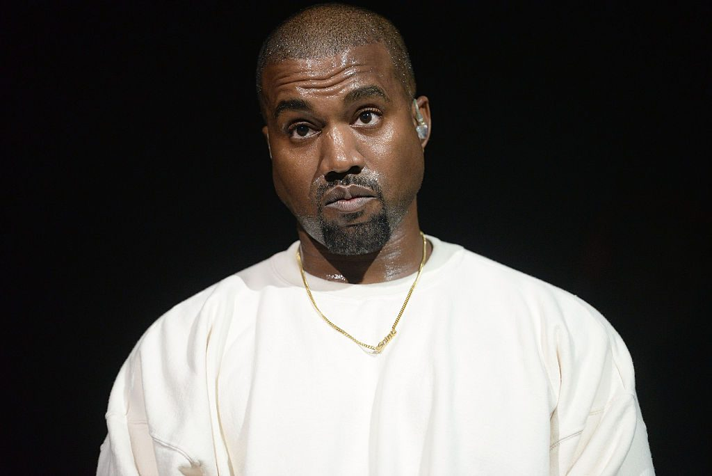Kanye West performs onstage at the Power 106 Powerhouse show at Honda Center.