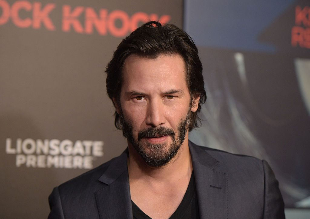 """Keanu Reeves attends the premiere of """"Knock Knock"""" at TCL Chinese Theatre."""