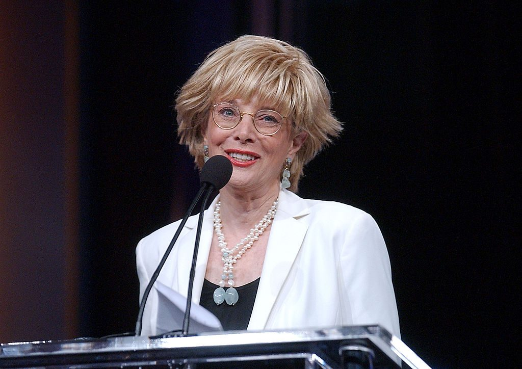"""Lesley Stahl accepts the Career Achievement award on behalf of Don Hewitt of """"60 Minutes."""""""