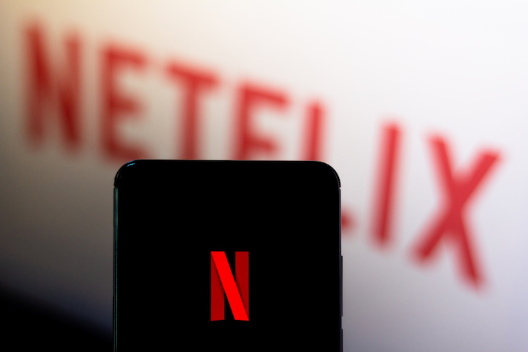 Netflix logo on a phone screen