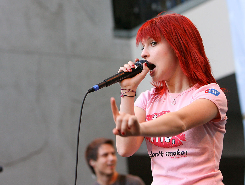 Hayley Williams of Paramore performs onstage as part of the 'Twilight' autograph event at a Hot Topic in Hollywood, 2008.