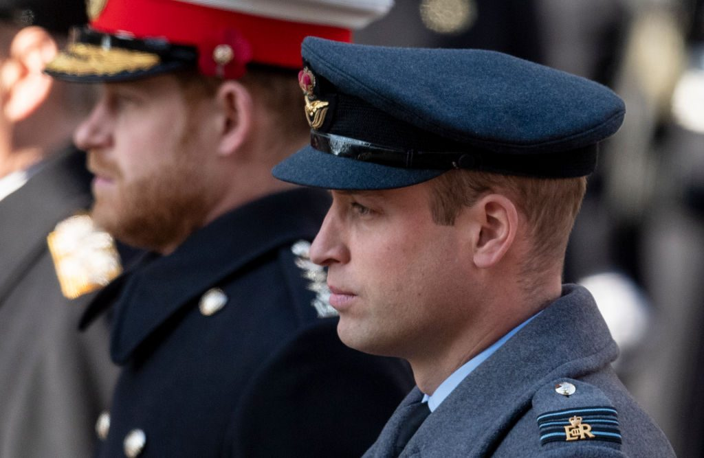 Prince William, Duke of Cambridge (R) and Prince Harry, Duke of Sussex attend the annual Remembrance Sunday memorial.