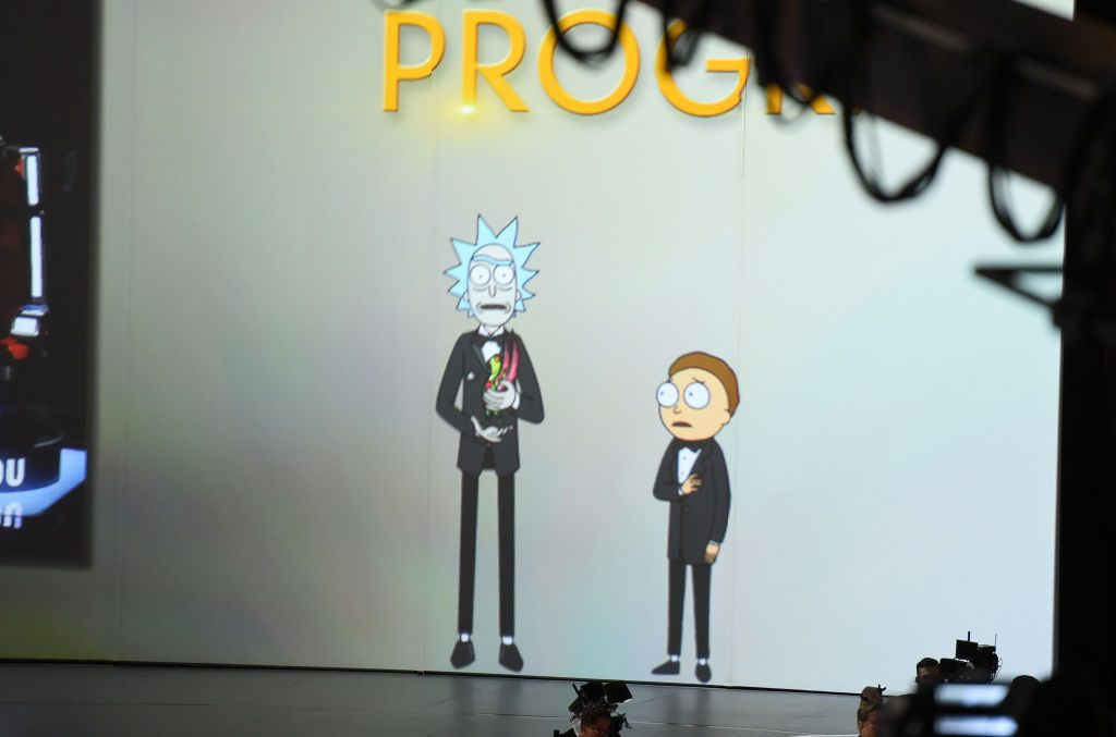 Rick and Morty present onstage during the 70th Emmy Awards.