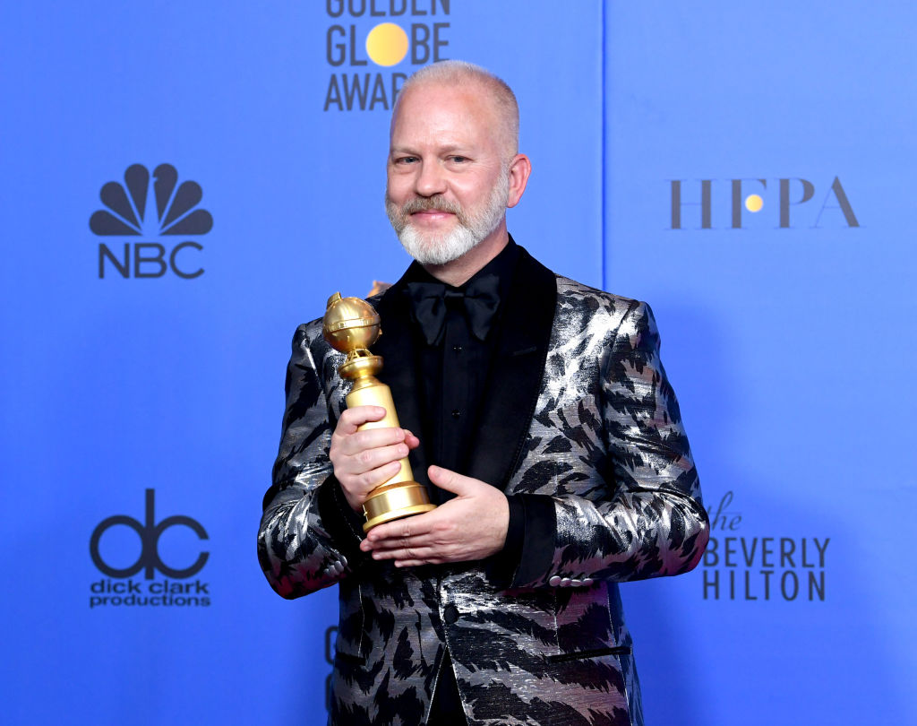 Ryan Murphy poses with his Outstanding Limited Series award for 'The Assassination of Gianni Versace: American Crime Story' at the Golden Globes, 2019.
