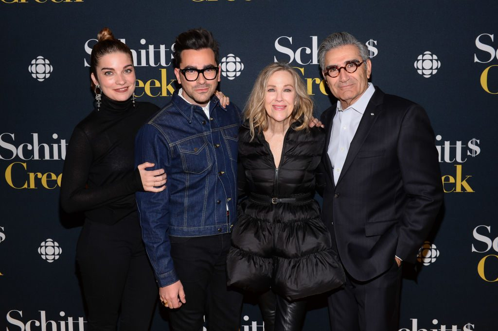 Annie Murphy, Dan Levy, Catherine O'Hara, and Eugene Levy at the Schitt's Creek Season 4 premiere