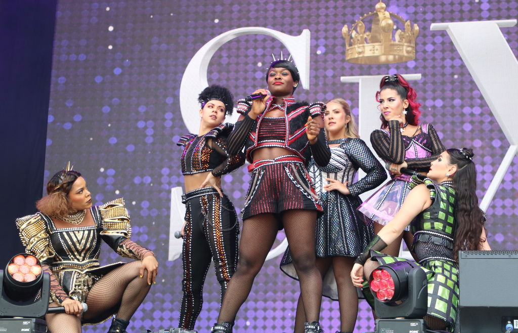 The cast of the West End production of 'Six' the musical singing at West End LIVE in London.