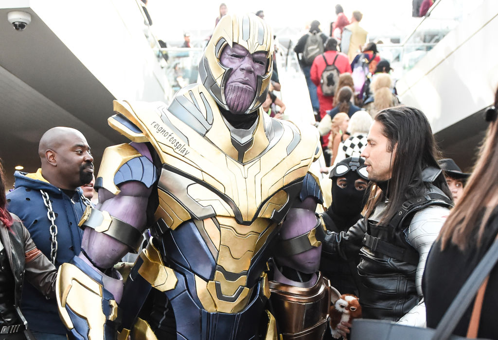 A cosplayer poses as Thanos at New York Comic Con 2019.