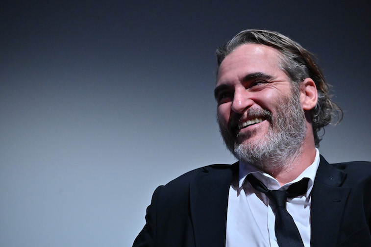 Joaquin Phoenix answering questions onstage