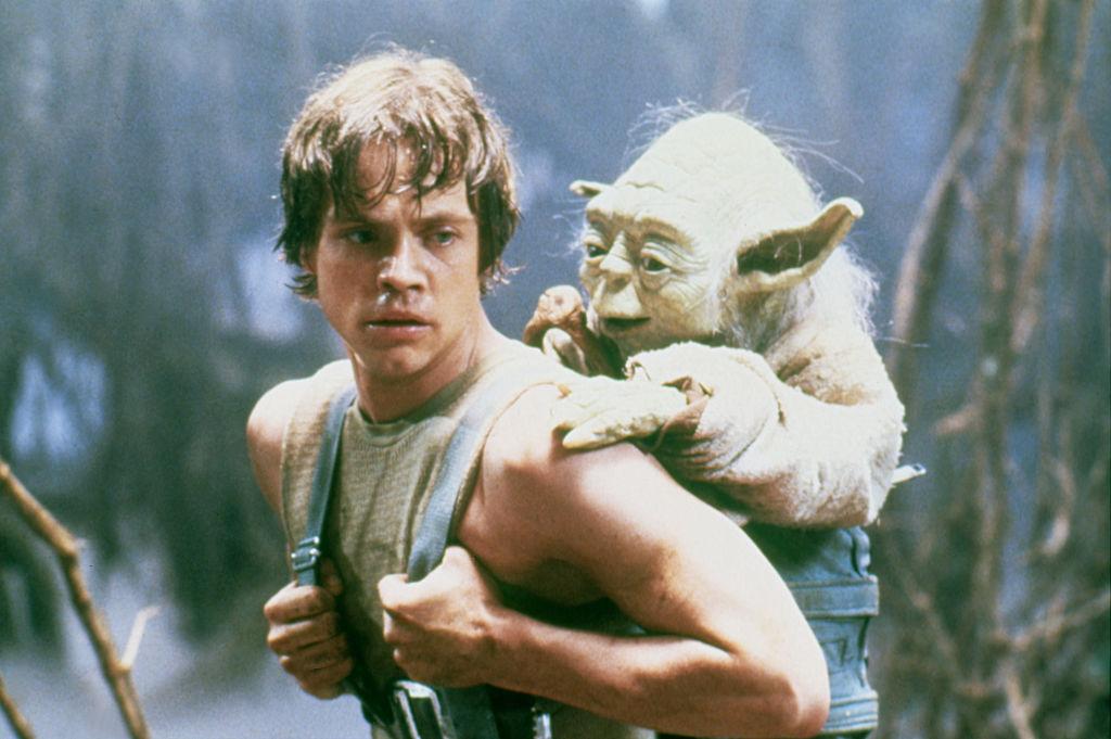 Mark Hamill as Luke Skywalker training with Yoda in 'The Empire Strikes Back.'