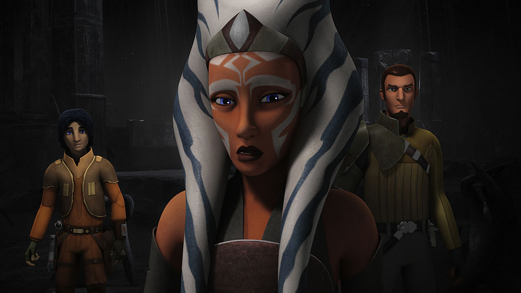 """Ahsoka Tano wielding her two lightsabers in 'Star Wars Rebels' Episode """"The Future of the Force"""" in Season 2."""