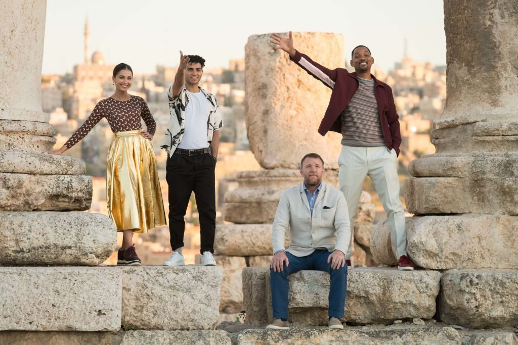 """Naomi Scott, Mena Massoud, Director Guy Ritchie and Will Smith attend a photocall at the Citadel, as part of the """"Aladdin"""" Magic Carpet World Tour"""