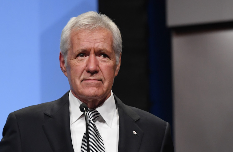 Akex Trebek speaks onstage