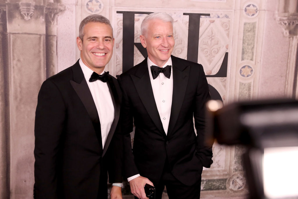Andy Cohen and Anderson Cooper attend the Ralph Lauren fashion show during New York Fashion Week