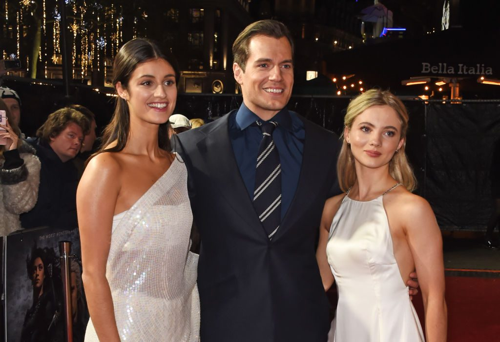 Anya Chalotra (Yennefer of Vengerberg), Henry Cavill (Geralt of Rivia), and Freya Allan (Ciri of Cintra) at the world premiere of 'The Witcher'