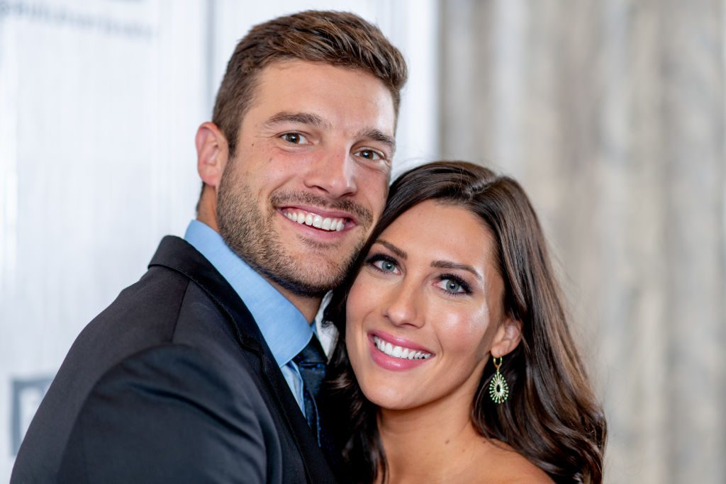 "Becca Kufrin and Garrett Yrigoyen discuss ""The Bachelorette"" season finale with the Build Series at Build Studio on August 7, 2018 in New York City."
