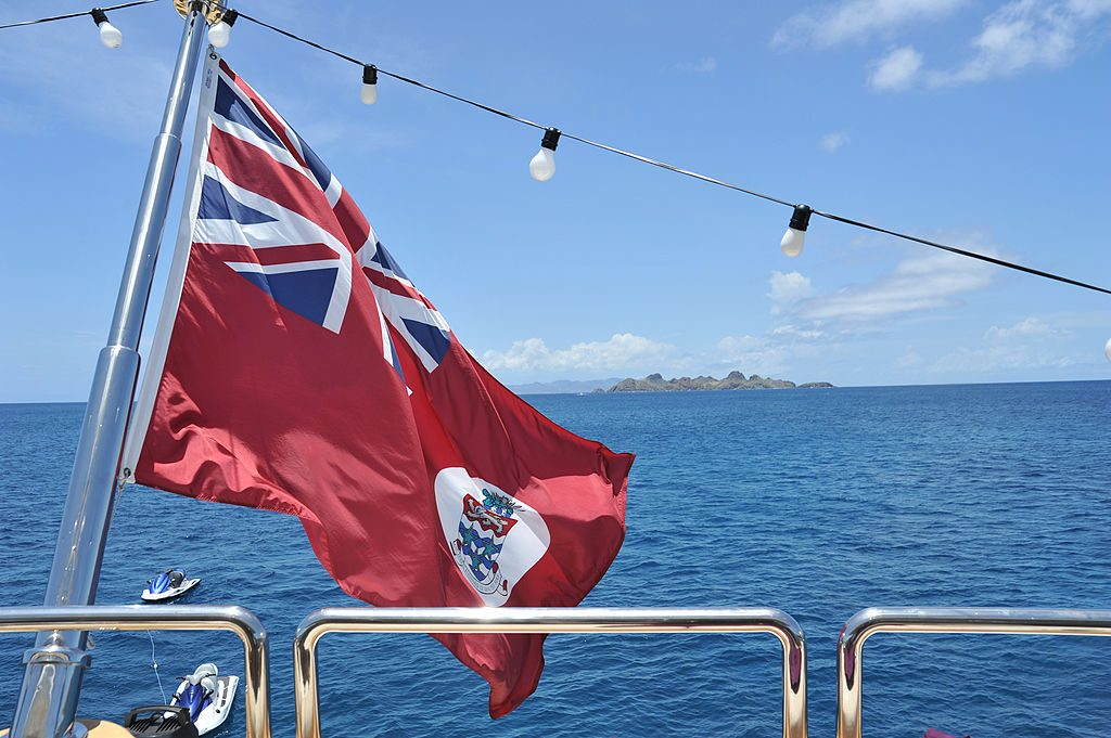"""The Cayman Islands Flag on board the """"Honor"""" luxury yacht in April 2012"""