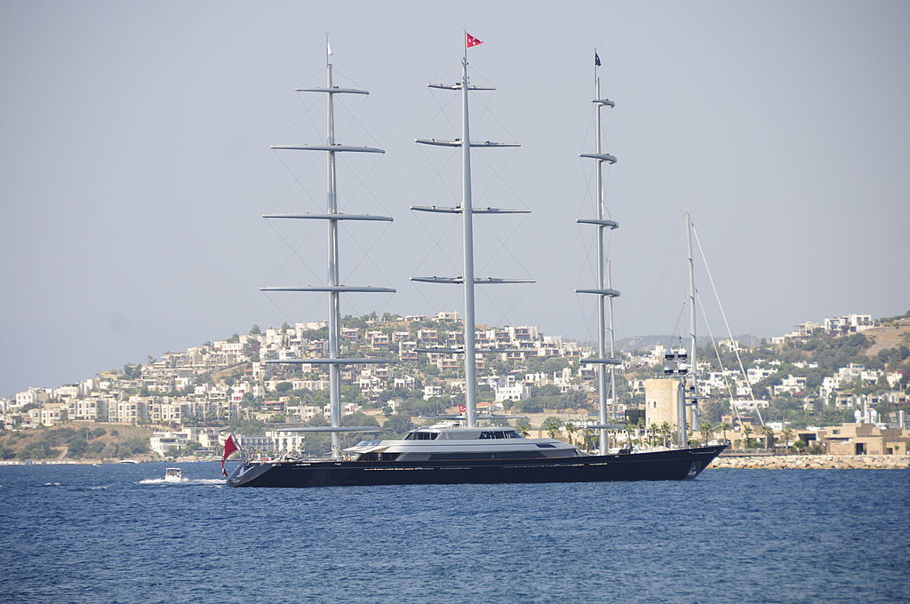 "Best sailing yacht interior and highest technical achievement in a sailing award winning yacht ''Maltese Falcon"" arrives at Bodrum, Turkey"