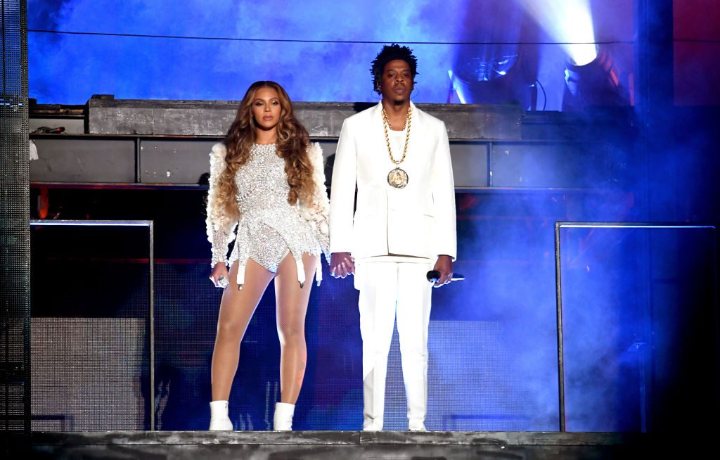 Beyoncé and Jay-Z performing at the 'On the Run II' tour