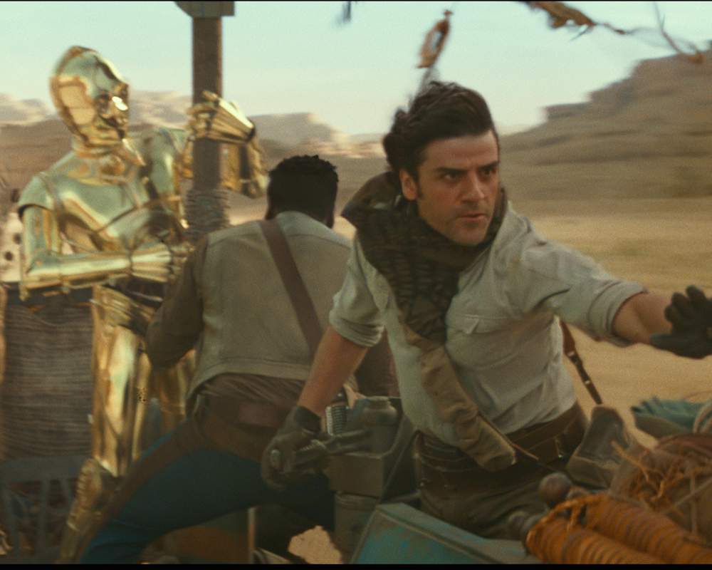 C-3PO with Finn and Poe