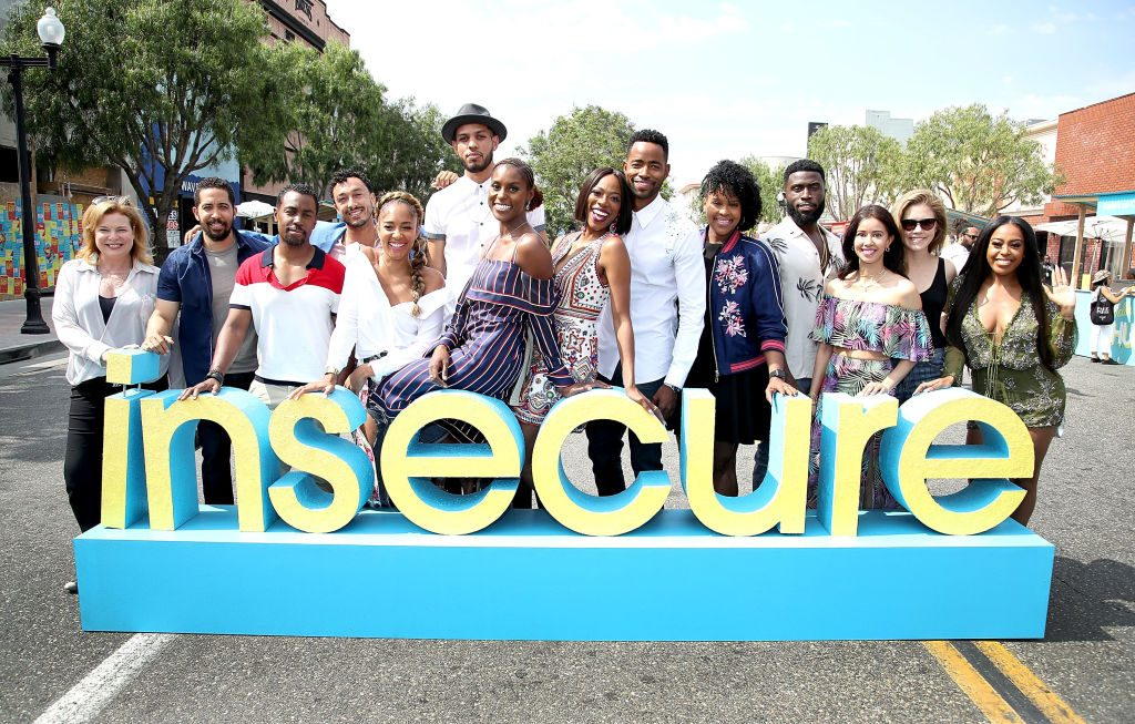 The cast of 'Insecure' at a party in 2017