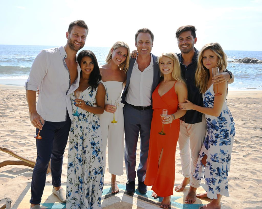 Chris Bukowski, Katie Morton, Kristian Haggerty, Chris Harrison, Demi Burnett, Dylan Barbour, and Hannah Godwin at the BIP finale