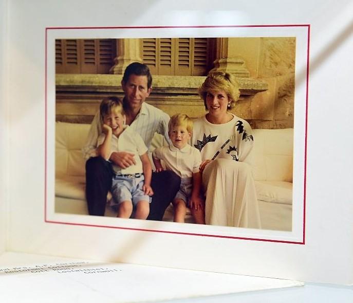 Christmas Card featuring Prince Charles, Princess Diana, Prince William, and Prince Harry