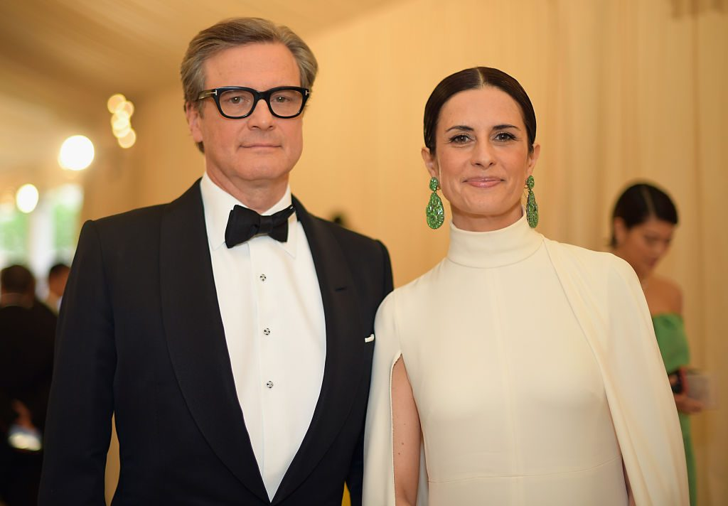 Colin Firth and Livia Giuggioli attend the Heavenly Bodies: Fashion & The Catholic Imagination Costume Institute Gala at The Metropolitan Museum of Art on May 7, 2018 in New York City