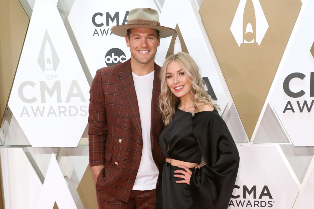 Bachelor alums Colton Underwood and Cassie Randolph attend the CMA's