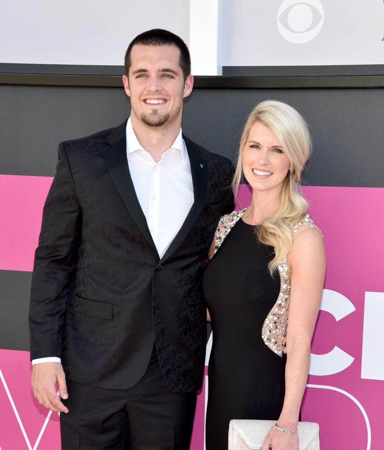 Derek Carr and his wife, Heather Neel
