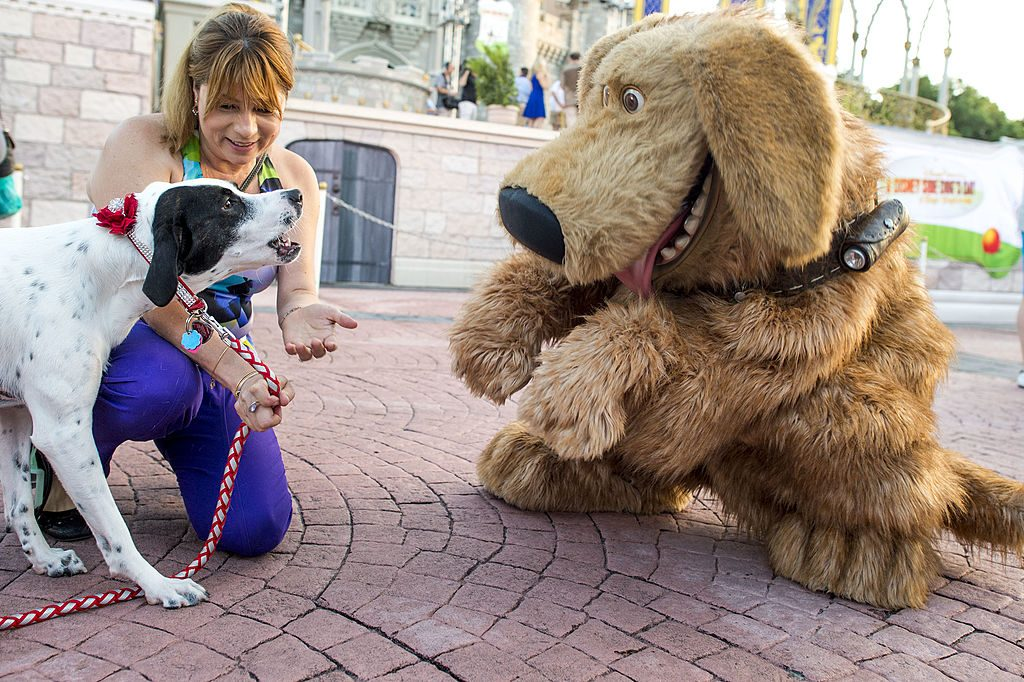 "Mejay Aguerre and her dog ""Lily"" meet the Disney-Pixar canine character ""Dug"" at the Magic Kingdom at Walt Disney World Resort"