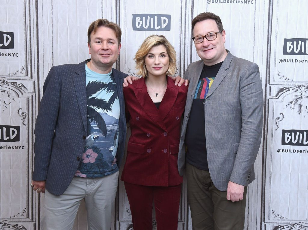 Doctor Who producer Matt Strevens with Jodie Whittaker and showrunner Chris Chibnall