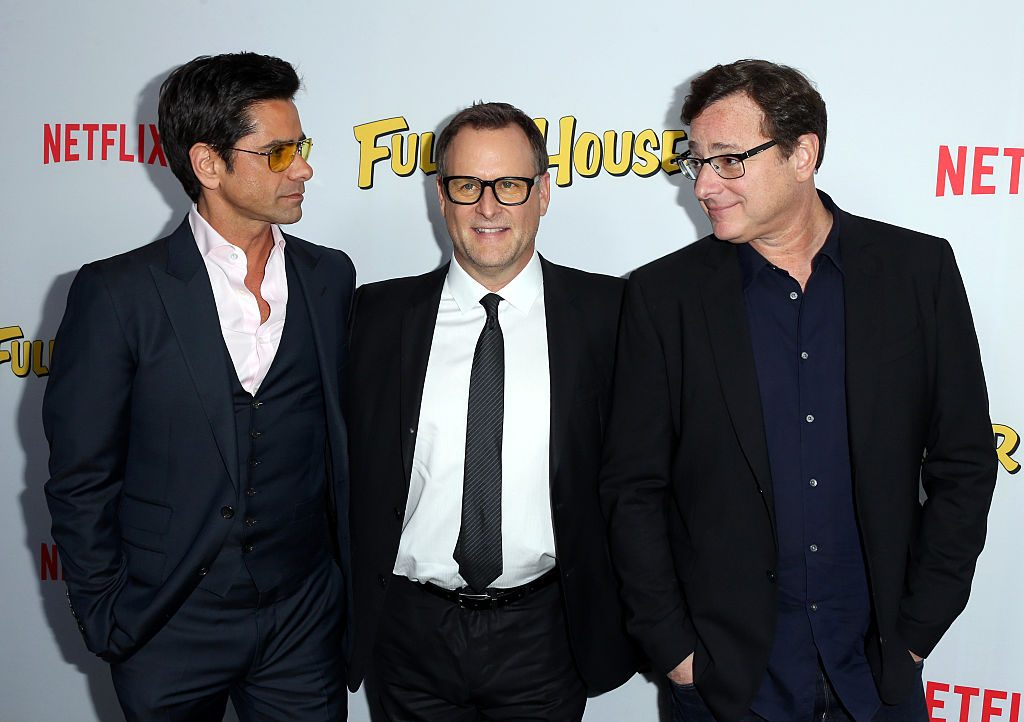 """Actors John Stamos, Dave Coulier, and Bob Saget attend the premiere of Netflix's """"Fuller House"""""""