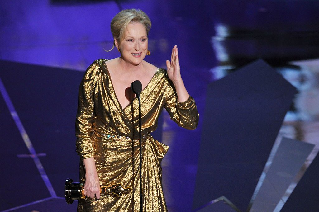 Meryl Streep in 2012 accepting Academy Award for her role as Margaret Thatcher in 'The Iron Lady'