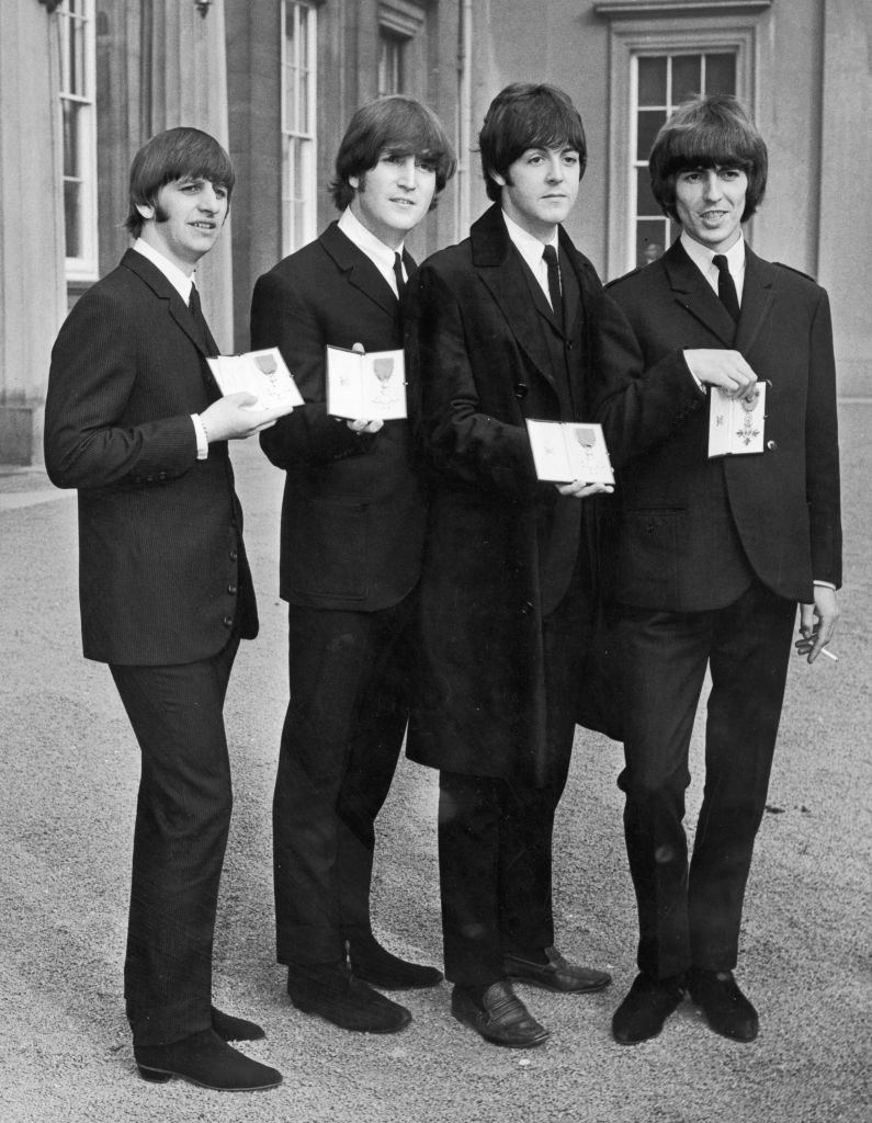 The Beatles with their Member of the Order of the British Empire awards from Queen Elizabeth