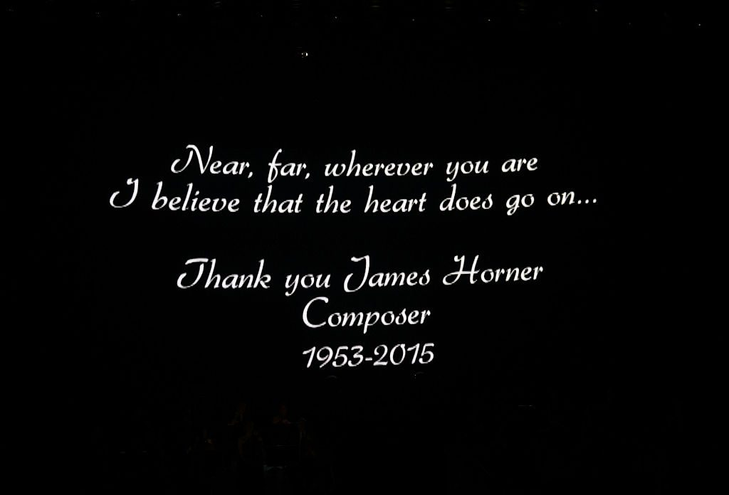Homage to composer James Horner at the premiere of the much-anticipated return of Celine Dion's headline residency show at The Colosseum at Caesars Palace on August 27, 2015 in Las Vegas, Nevada.