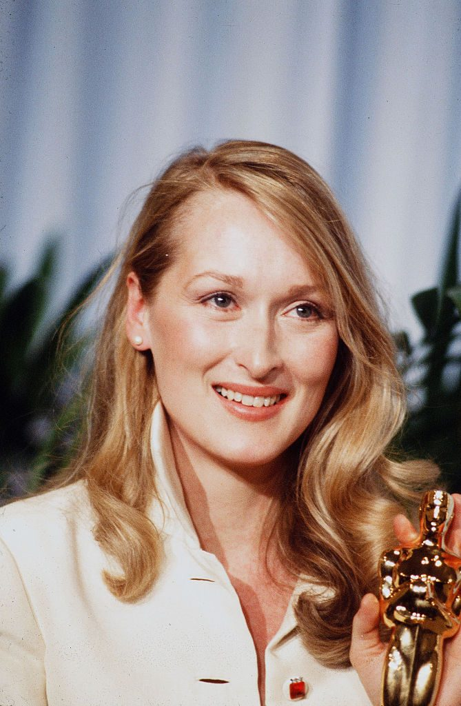 Meryl Streep in 1980 with Academy Award for her Supporting Actress role in 'Kramer vs. Kramer'