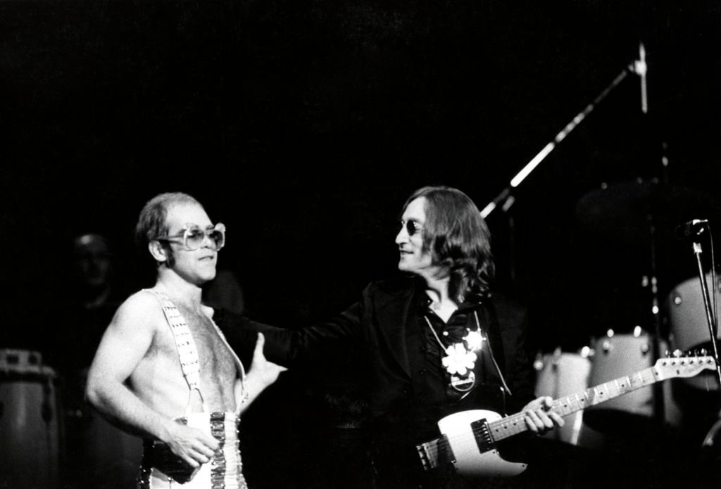 John Lennon's final concert, appearing with Elton John onstage at Madison Square Garden, 1974
