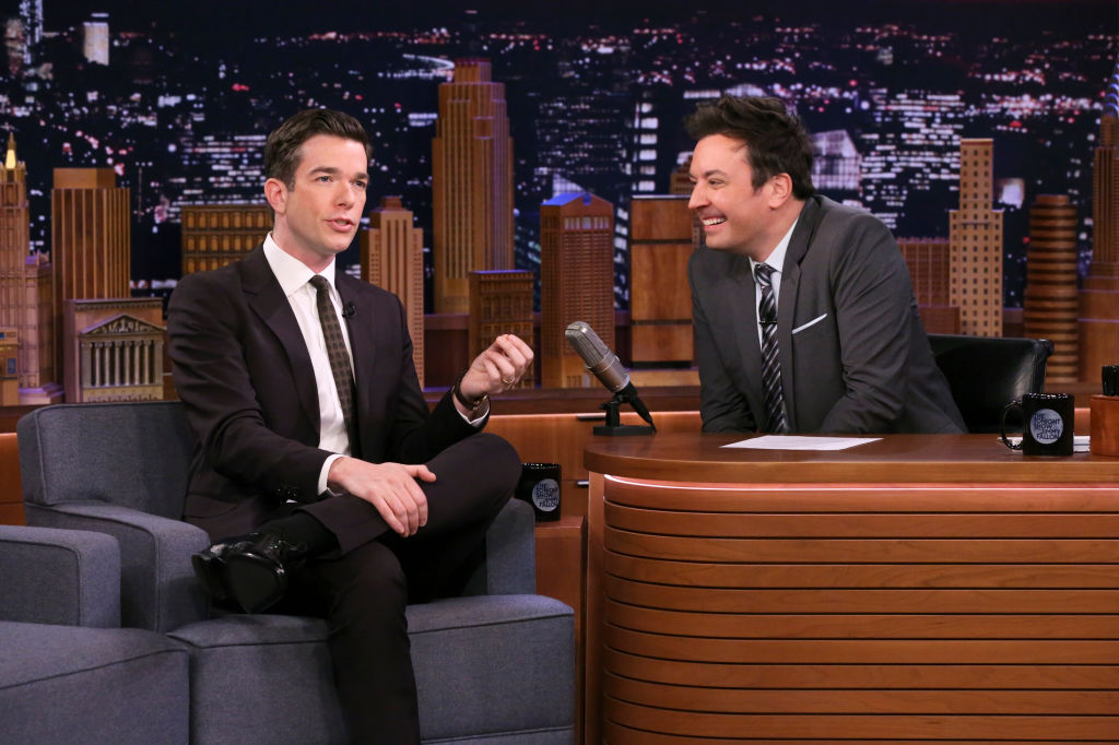 John Mulaney during an interview with host Jimmy Fallon